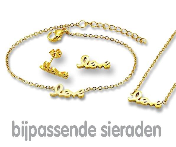 Amanto Oorbellen Emi Gold - Dames - 316L Staal Goudkleurig PVD - Love - 14x5 mm-21979