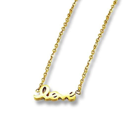 Amanto Ketting Emi Gold - Dames - 316L Staal Goudkleurig PVD - Love - 14x5 mm - 48+5 cm-0