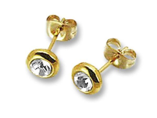 Amanto Oorbellen Ember Gold - Dames - 316L Staal Goudkleurig PVD - Zirkonia - Rond - ∅6 mm-0