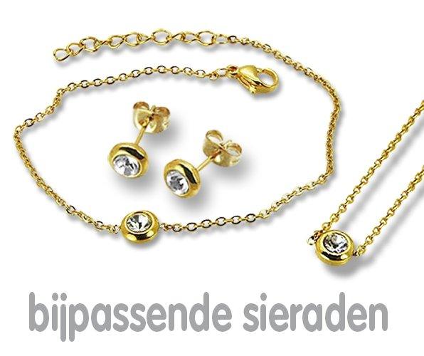 Amanto Oorbellen Ember Gold - Dames - 316L Staal Goudkleurig PVD - Zirkonia - Rond - ∅6 mm-21852