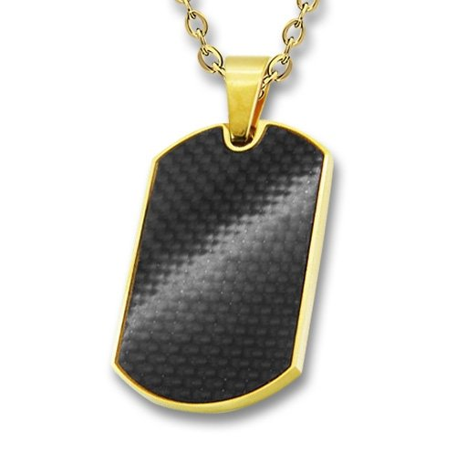 Amanto Ketting Emson G - 316L Staal PVD - Dogtag - Carbon - 32x20mm - 60cm-0