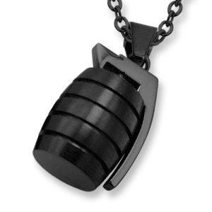 Amanto Ketting Ender Black - Heren - 316L Staal - Granaat - 23x14 mm - 60 cm-0