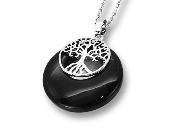 Amanto Ketting Elza Black - Dames - 316L Staal PVD - Natuursteen - ∅28 mm - 50 cm-0