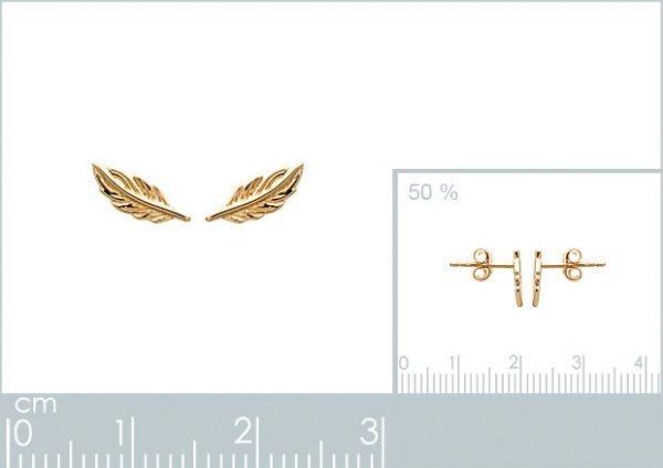 Montebello Oorbellen Salacca Gold - Dames - Zilver Goudverguld - Veer - 8x3 mm-22407