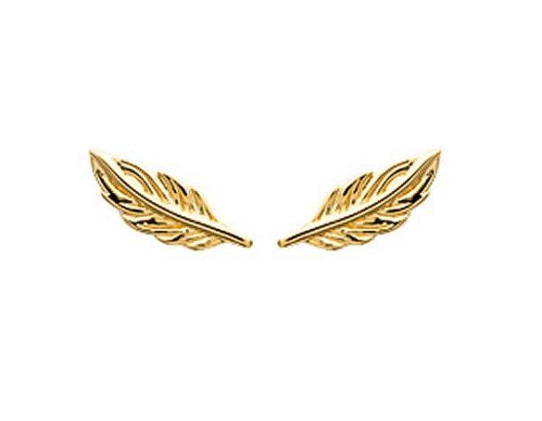 Montebello Oorbellen Salacca Gold - Dames - Zilver Goudverguld - Veer - 8x3 mm-0