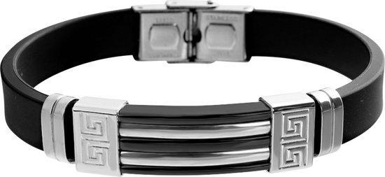 Montebello Armband Klaft Black - Heren - 316L Staal - Siliconen - 20.5 cm-0