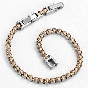 Montebello Armband Catinca Champagne - Dames - 316L Staal - Zirkonia - 3 mm - 18+3 cm - Aanpasbaar-0