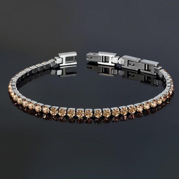 Montebello Armband Catinca Champagne - Dames - 316L Staal - Zirkonia - 3 mm - 18+3 cm - Aanpasbaar-22818