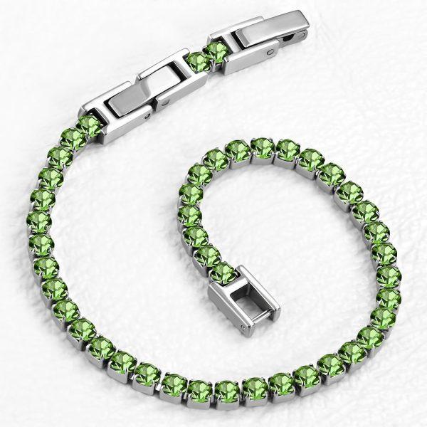Montebello Armband Catinca Green - Dames - 316L Staal - Zirkonia - 3 mm - 18+3 cm - Aanpasbaar-0