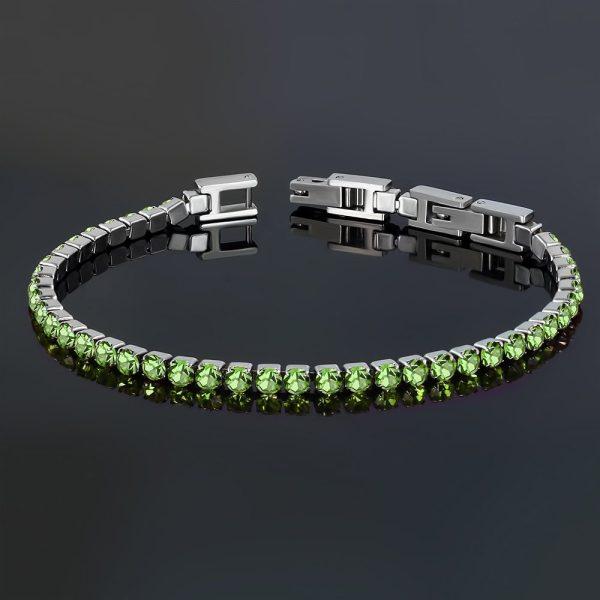 Montebello Armband Catinca Green - Dames - 316L Staal - Zirkonia - 3 mm - 18+3 cm - Aanpasbaar-22828