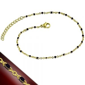 Amanto Armband Etkin Black - Dames - 316L Staal - Kraal - Zwart - 22+4 cm-0