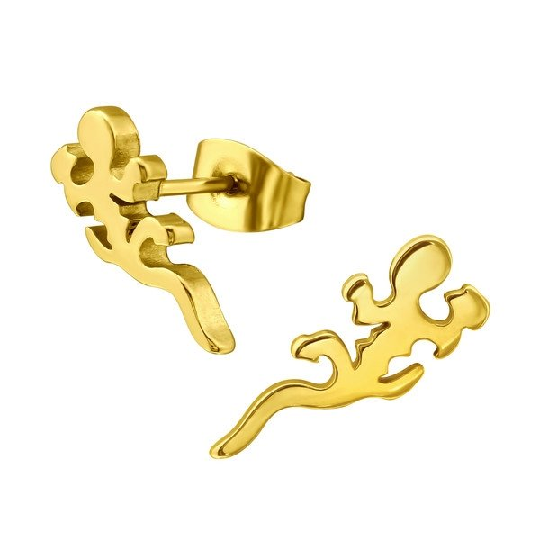 Amanto Oorbellen Eruma Gold - Dames - 316L Staal Goudkleurig - Salamander - 7x13 mm -0