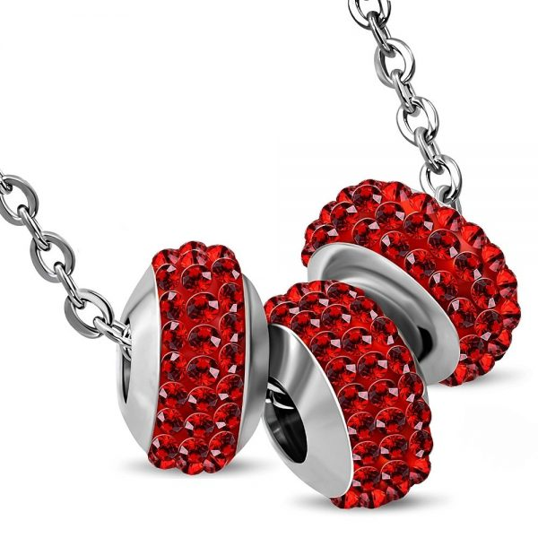 Amanto Ketting Erza Red - Dames - 316L Staal PVD - Zirkonia - bedel - 42 cm-0