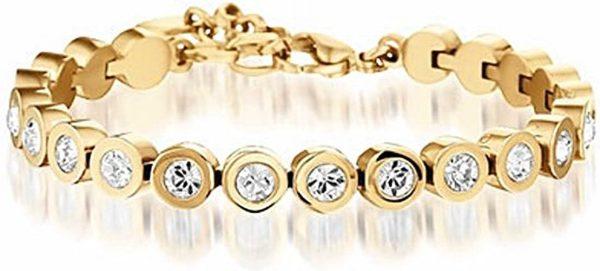 Montebello Tennisarmband Hulst Gold - Dames - 316L Staal - Zirkonia - ∅7 mm - 17-20 cm-0