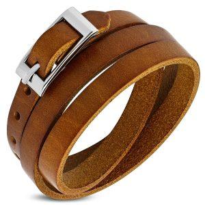 Amanto Armband Farran E - Heren - Leer - Bruin - Wikkel - 8 mm - Aanpasbaar (max.60 cm)-0