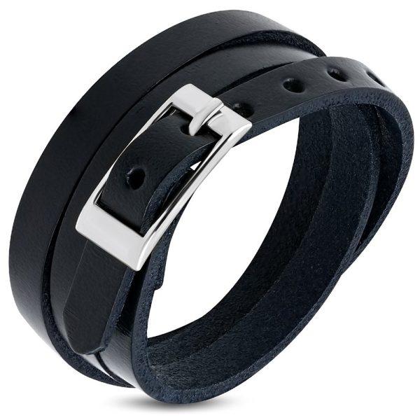 Amanto Armband Farran D - Heren - Leer - Zwart - Wikkel - 8 mm - Aanpasbaar (max.60 cm)-0