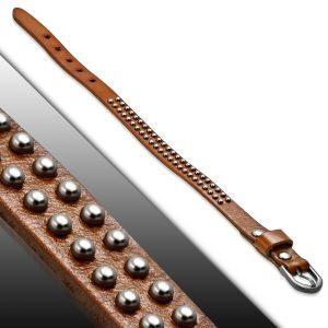 Amanto Armband Aisar Cognac - Heren - Leer - Studs - 12 mm - Aanpasbaar (max.26 cm)-23181