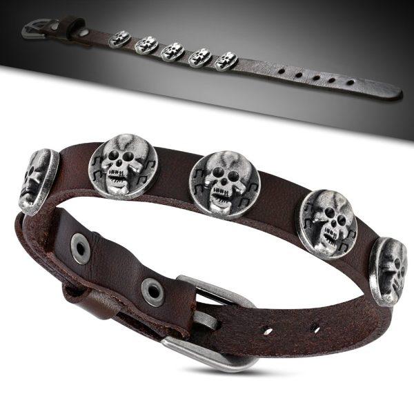 Amanto Armband Farham B - Heren - Leer - Stud Doodskop - 12 mm - Aanpasbaar (max.26cm)-23171