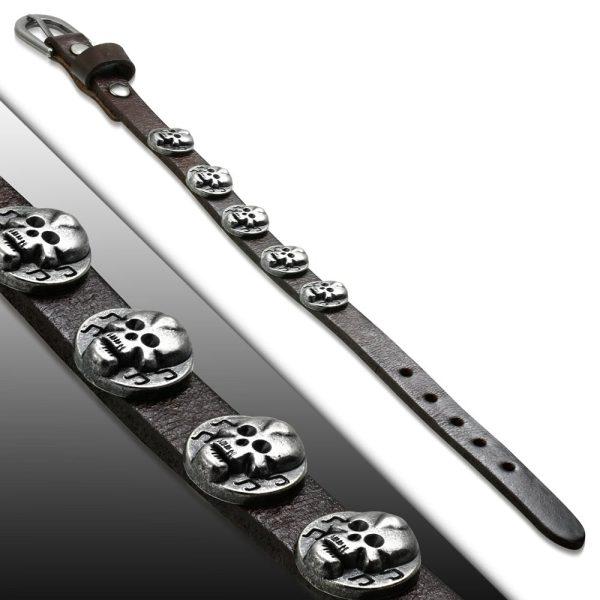Amanto Armband Farham B - Heren - Leer - Stud Doodskop - 12 mm - Aanpasbaar (max.26cm)-0