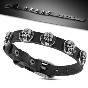 Amanto Armband Farham C - Leer - Stud Doodskop - 12mm - Aanpasbaar -0
