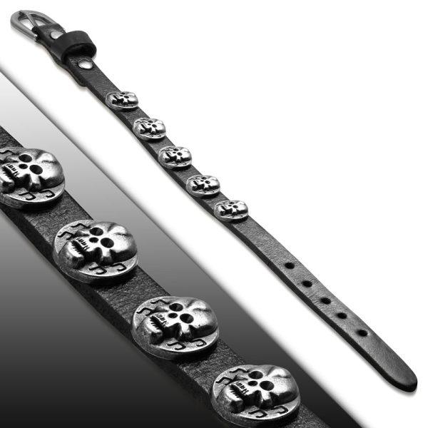 Amanto Armband Farham C - Leer - Stud Doodskop - 12mm - Aanpasbaar -23177