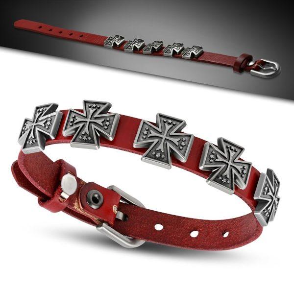 Amanto Armband Aissa Small Red - Heren - Leer - Studs - Kruis - 15 mm - Aanpasbaar (max.25 cm)-23360