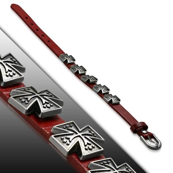 Amanto Armband Aissa Small Red - Heren - Leer - Studs - Kruis - 15 mm - Aanpasbaar (max.25 cm)-0