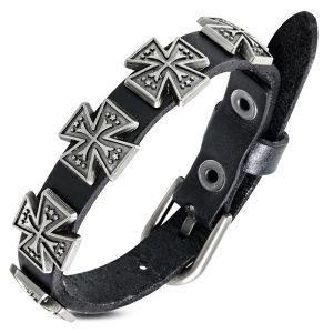 Amanto Armband Aissa Small - Leer - Studs - Kruis - 15mm - Aanpasbaar-0
