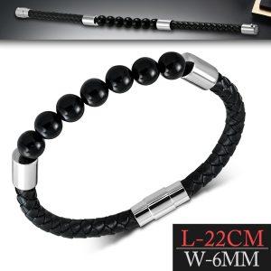 Amanto Armband Feiko B - Unisex - Leer - Zwarte Agaat Kraal - Magnetisch - 8 mm - 22 cm-0