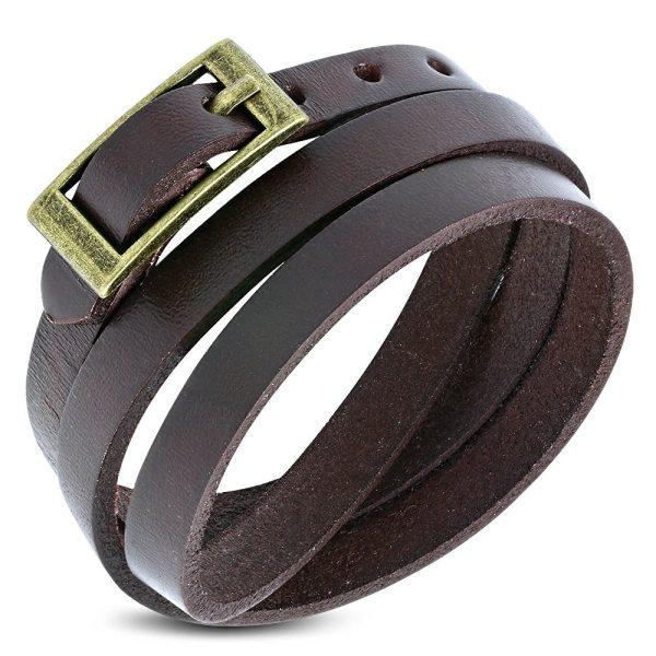 Amanto Armband Farran Brown - Leer - Bruin - Wikkel - 8mm - Aanpasbaar-0