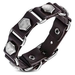 Amanto Armband Farid B - Heren - Leer - Bruin - Studs - 20 mm - Aanpasbaar (max.22 )-0