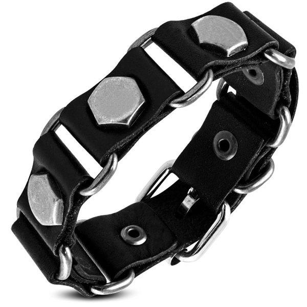 Amanto Armband Farid C - Heren - Leer - Zwart - Studs - 20 mm - Aanpasbaar (max.22 )-0