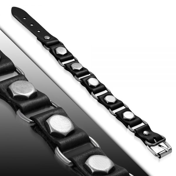 Amanto Armband Farid C - Heren - Leer - Zwart - Studs - 20 mm - Aanpasbaar (max.22 )-23408