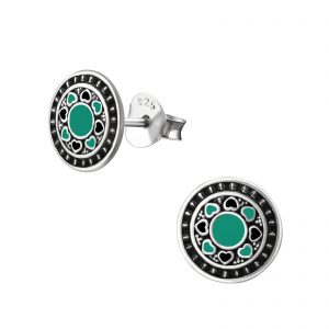 Montebello Oorbellen Berru Green - Dames - 925 Zilver - Epoxy - 8x 8 mm-0