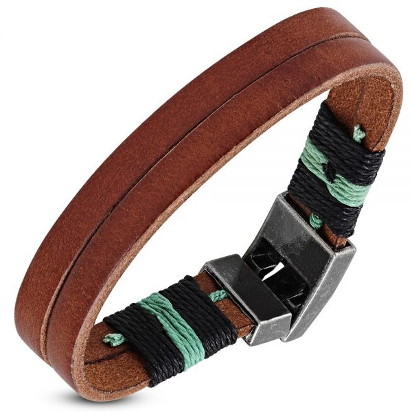 Amanto Armband Fawaz Brown - Leer - 316L Staal - Touw - 17mm - 22cm-0