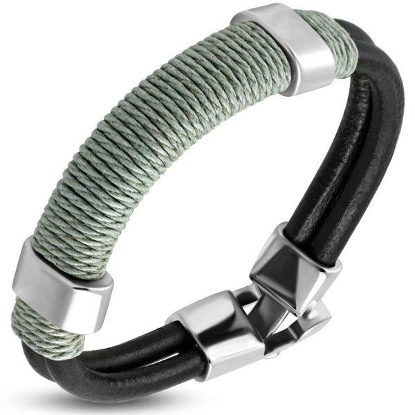 Amanto Armband Farzan C - Heren - Leer - 316L Staal - Touw - 15 mm - 21 cm-23272