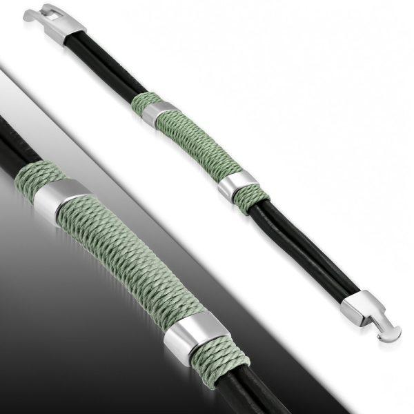 Amanto Armband Farzan C - Heren - Leer - 316L Staal - Touw - 15 mm - 21 cm-0