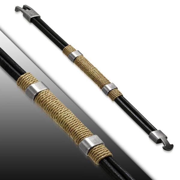 Amanto Armband Farzan D - Heren - Leer - 316L Staal - Touw - 15 mm - 21 cm-0