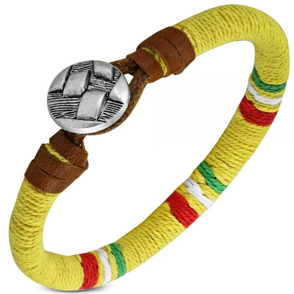 Amanto Farel Yellow Multi - Unisex - Leer - Touw - 8mm - 22 cm-0