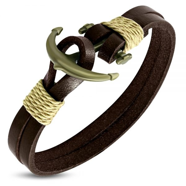 Amanto Armband Farrel Brown - Leer - 316L Staal - Anker - 10mm - 21cm-0