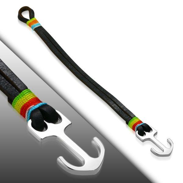 Amanto Armband Farrel Multi Brown - Heren - Leer - 316L Staal - Anker - 10 mm - 21 cm-23350