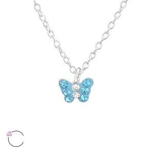 Amanto Kids Ketting Fadia Blue - Meisjes - 925 Zilver - Swarovski® - Vlinder - 6x5 mm - 36+3 cm-0