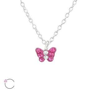 Amanto Kids Ketting Fadia Pink - Meisjes - 925 Zilver - Swarovski® - Vlinder - 6x5 mm - 36+3 cm-0