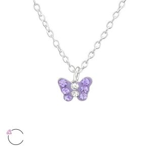 Amanto Kids Ketting Fadia Purple - Meisjes - 925 Zilver - Swarovski® - Vlinder - 6x5 mm - 36+3 cm-0
