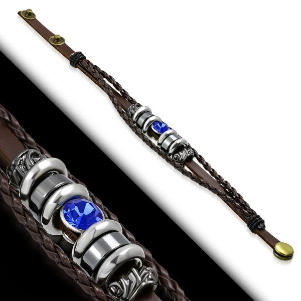 Amanto Armband Feda A - Heren - Leer - 316L Staal - Kralen - 15 mm - 20-22 cm-23303