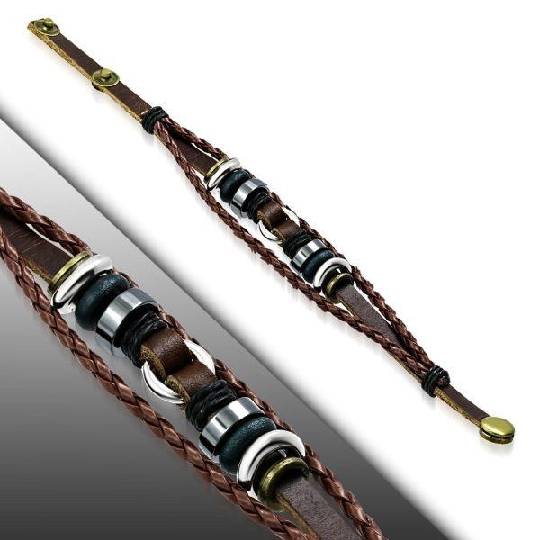 Amanto Armband Febien A - Heren - Leer - 316L Staal - Kralen - 15 mm - 20-22 cm-23293