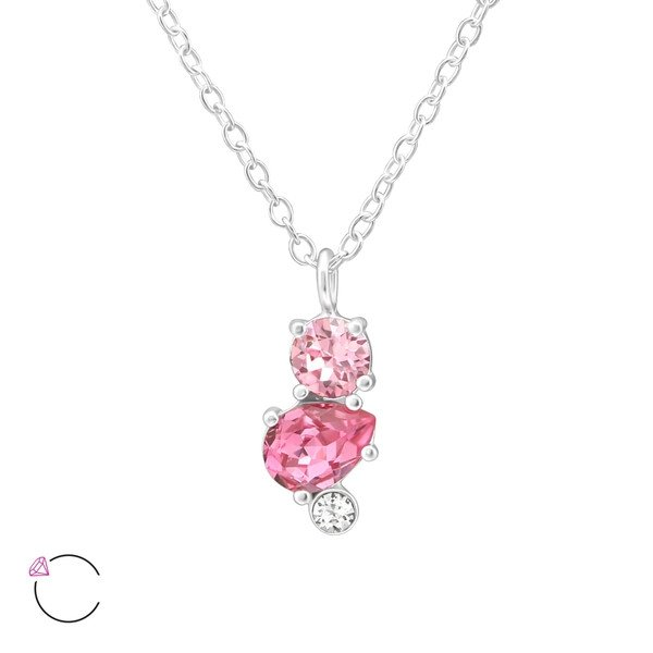 Amanto Ketting Ezgi Pink - Dames - 925 Zilver - Swarovski® - 6x11 mm - 45 cm-0