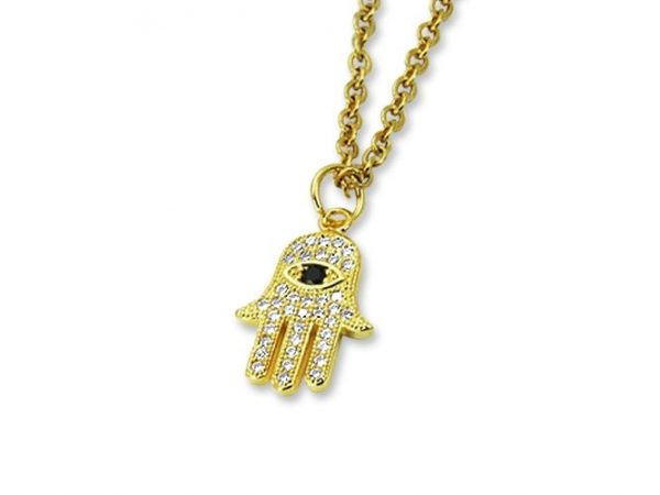 Amanto Ketting Evy Gold - Dames - 316L Staal PVD - Zirkonia - Fatima - 17x11 mm - 45 cm-0