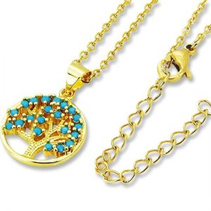 Amanto Ketting Celil Gold - Dames - 316L Staal PVD - Turkoois - Levensboom - ∅1.5 - 50 cm-0