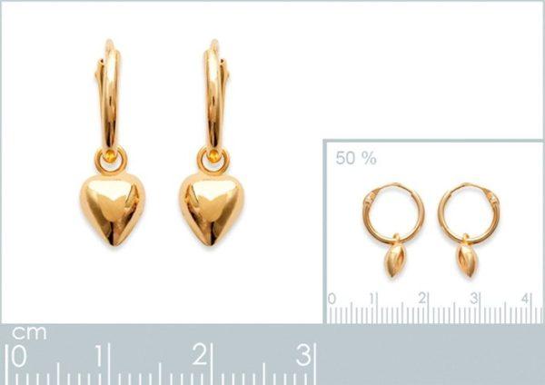 Amanto Oorbellen Fiona Gold - Dames - Zilver Goudverguld - Oorring - Hartje - ∅12 mm-24056